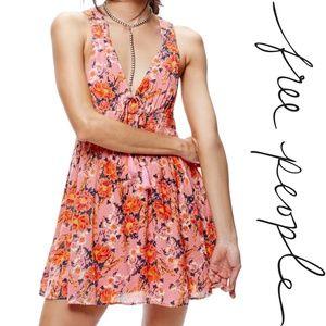 Free People Floral Print Mini Dress Pink XS
